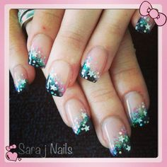 Acrylic Nail Design Star Glitter Nails | Nails By Me | Pinterest