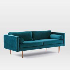 Monroe Mid-Century Sofa, Lustre Velvet, Celestial Blue