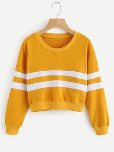 Stripe Panel Ribbed Trim Crop Sweatshirt