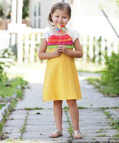 Yellow Rainbow Ruffle Dress - Toddler by Freckles + Kitty #zulily #zulilyfinds