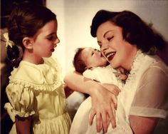 Judy Garland and her daughters, Liza Minnelli and baby Lorna Luft