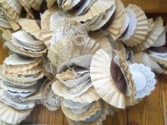 coffee filters, cupcake liners, doily garland~  wedding catering