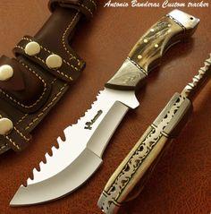 Antonio-Banderas-1-OF-A-KIND-CUSTOM-BUSHCRAFT-TRACKER-KNIFE-SURVIVAL-DAMASCUS
