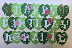 Polynesian Princess Moana or Maui Inspired banner  Text reads Happy Birthday in white card stock. Mounted on die cut tropical leaves with hibiscus flower. Flower on images with black background is current shape Im using. Banner is 2 tiers, comes pre-strung on coordinating twine and packaged, ready to hang. If you ordered it with a personalized name, it will be 3 tiers.  Each leaf is approximately 4.75 tall.  If youd like Maui instead of Moana pls leave message in Notes to Seller at checkout…