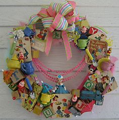 wreath made with vintage toys