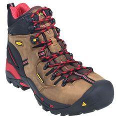Keen Footwear 1007024 Mens Pittsburg Steel Toe Bison/Red Waterproof Work Boots