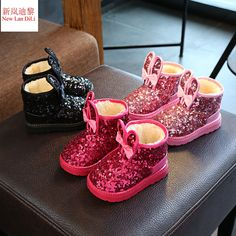 2017 Winter New Ankle Boots Kids Shoes For Girls Bling Children Snow Boots  Thick Plush Soft Sole Fur Leather Pu Rabbit Baby Shoe 39275152eb66