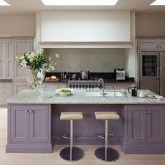 Need some kitchen-diner decorating ideas? Take a look at this spacious kitchen-diner from Beautiful Kitchens for inspiration. For more kitchen ideas, visit our kitchen galleries Purple Kitchen Cabinets, Kitchen Paint, Kitchen Colors, Painting Kitchen Cabinets, Home Decor Kitchen, Kitchen Interior, New Kitchen, Island Kitchen, Kitchens