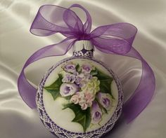 Hand Painted Christmas Ornament Purple Cottage Chic Roses & Lace HP Glass