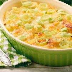 Gratin de poireaux au fromage, œufs et muscade