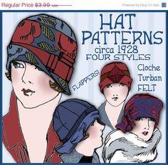 SALE Sew 4 Vintage 1920s FLAPPER CLOCHE Hat e-Patterns (Shirley Set) Pdf. $3.39, via Etsy.