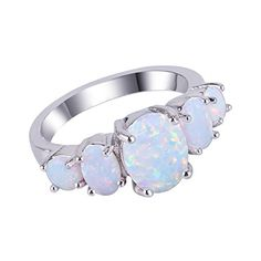 KELITCH Jewelry White Createdopal Cluster Gemstones Ring SterlingSilver925  Size 9 -- Learn more by visiting the image link. (This is an affiliate link) #FashionRings