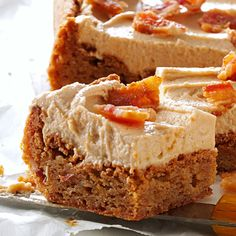 Peanut Butter & Bacon Blondies Recipe -The most unusual bar cookie recipe I have is also a favorite. Use store-bought bacon bits to help save time. — Janie Colle, Hutchinson, Kansas