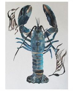 """Nautical Ocean Lobster Watercolor Painting """"A Lobster Tale"""" Original Fine Art ~ This would be cute with the blue and white accents in my kitchen!"""
