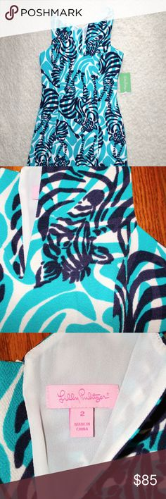 """Lilly Pulitzer I'm Game Zebra Dress NWT Bought this dress and have never worn it. Size 2, 34"""" length from shoulder to bottom hem. Cute zebra print! Lilly Pulitzer Dresses Mini"""