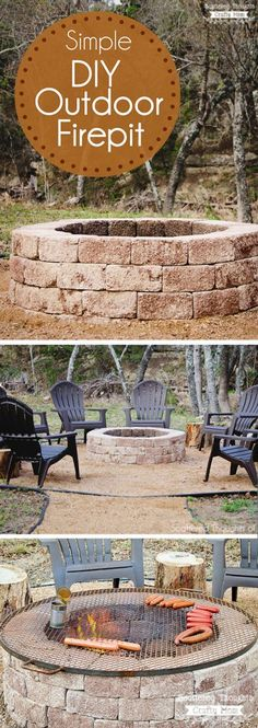 Spruce up your backyard with this fun and easy DIY Outdoor Fire Pit. It's the perfect outdoor project to complete in a weekend. Spruce up your backyard with this fun and easy DIY Outdoor Fire Pit. It's the perfect outdoor project to complete in a weekend. Make A Fire Pit, Diy Fire Pit, Fire Pit Backyard, Backyard Patio, Backyard Landscaping, Outdoor Fire Pits, Landscaping Design, Fire Pit Grill, Backyard Fireplace