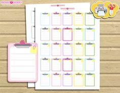 Pastel Clipboard Planner Stickers. Print and Cut cute