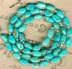 Southwest Castle Dome Turquoise Beads with Silver Beads 100 Genuine AZ USA   eBay