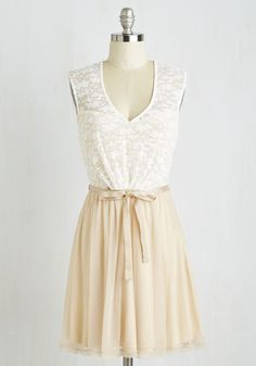 White Haute Cocoa Dress in Vanilla - Cream, Tan / Cream, Lace, White, Belted, A-line, Cap Sleeves, V Neck, Cutout, Party, Fairytale, Graduation, Spring, Short