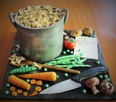 Cooking Pot, Pasta & Veg cake - Cake by Samantha Potter