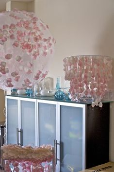 DIY Petal Decorations~So Pretty! : wedding petals reception decoration balloon covers chair covers chandelier centerpieces teal pink white ivory reception Petal Decor