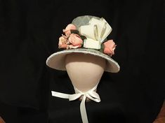 Teal and Peach Regency Bonnet