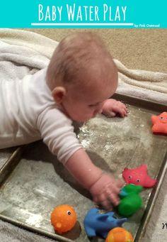 Baby Water Play - Sensory and Motor Play Baby Water Play - Pink Oatmeal Water Play Activities, Sensory Activities, Infant Activities, Infant Games, Play Activity, Learning Activities, Baby Sensory Play, Baby Play, Infant Sensory