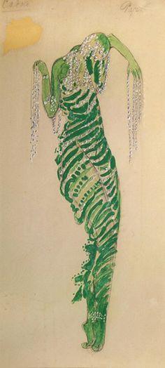 Boris Anisfeld (1879-1973). Sadko, Costume design for Silver Fish in Sea Kingdom scene, 1911. Pencil, watercolor, and silver paint.
