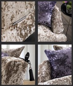 Crushed velvet sofa, Champagne with lilac & black detailing