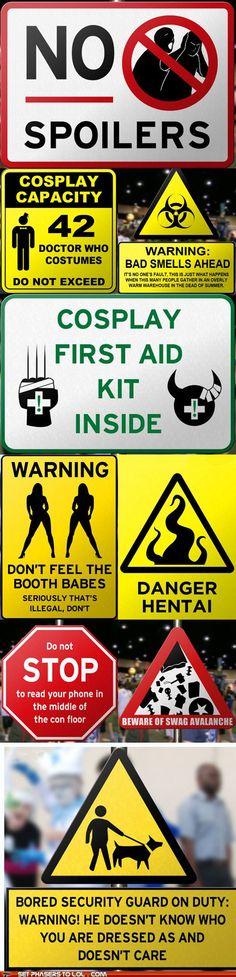 Comic-Con Warning Signs. Danger, hentai ahead!