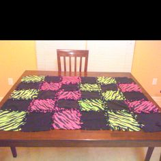 "Patchwork no sew blanket I made for my niece: cut 12"" squares out of fleece, cut about 12- 1/2""-1"" tabs on all four corners. When all pieces have been cut, hand tie one square to another, alternating patterns/ colors. Once you have a row of 6, 8 or 10 depending on length, attach rows to each other by tying by hand again. After you have assembled top, cut a single larger piece of fleece in coordinating color for back & tie to all four edges. Tada!"