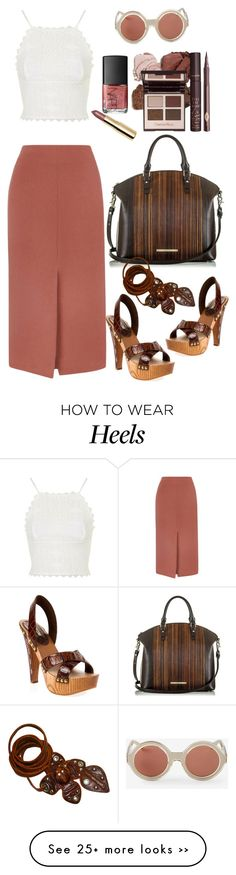 """""""TOPSHOP spilt front midi skirt"""" by thestyleartisan on Polyvore featuring Topshop, Karen Walker, Brahmin, NARS Cosmetics, Dolce Vita, Miu Miu and H&M"""