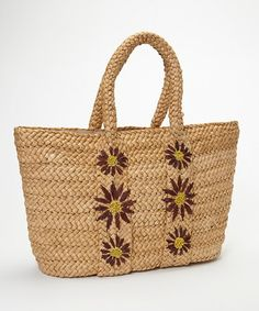 This Beige Flower Woven Tote by Straw Studios is perfect! #zulilyfinds