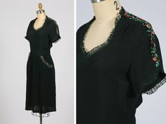 1940s  rayon sequin dress with ruffle trim by shopKLAD