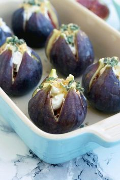 Easy Baked Figs with Goat Cheese, walnuts, honey and sage recipe. These baked figs make for an elegant savory appetizer your guests will love! Vegetarian Recipes Easy, Real Food Recipes, Cooking Recipes, Yummy Food, Healthy Recipes, Pancake Recipes, Waffle Recipes, Sage Recipes, Goat Cheese Recipes