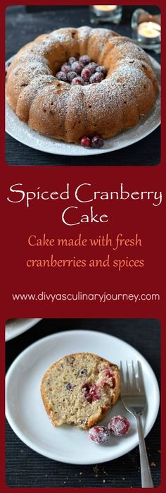 Spiced Cranberry Cake- Cake made with fresh cranberries, warm spices and pecans.