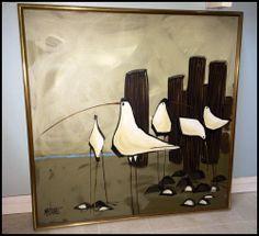 McCaine large Original Oil Painting Mid-Century Modern 1960's 70's Seagulls RARE