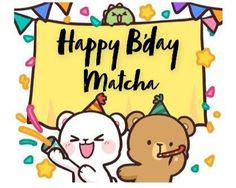 Bear Birthday, Birthday Wishes, Birthday Ideas, Cute Anime Cat, Matcha Milk, Bear Gif, Cute Love Gif, Cute Stickers, Beautiful Roses