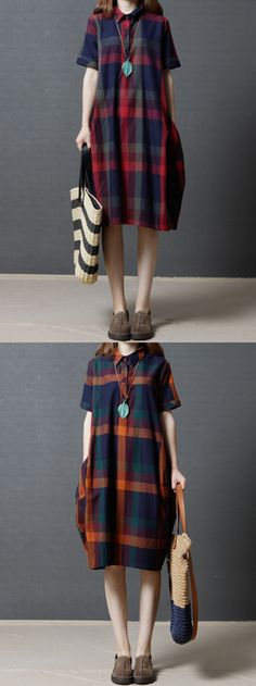 US$25.56 Plaid Short Sleeve Lapel Vintage Women Loose Dresses