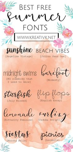 Download the best free summer fonts here and get creative making your own greeting cards, logos, headers, printables and more!