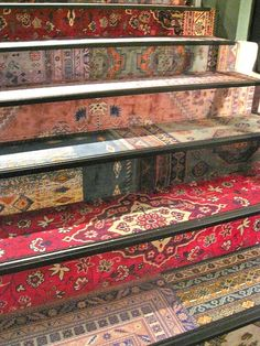 Repurposed Persian rug on stairs. Stairs We Love at Design Connection, Inc. | Kansas City Interior Design #Stairs #InteriorDesign http://www.DesignConnectionInc.com/Blog