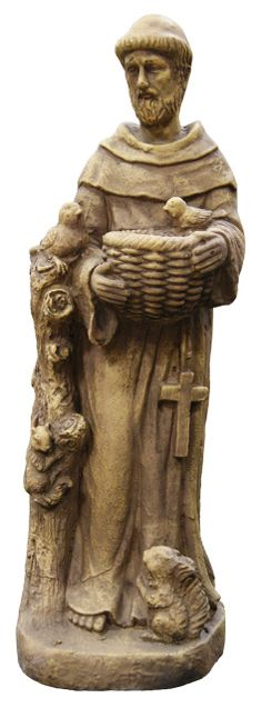 """Item# DAC212S The Saint Francis with Bird Garden Statue, has been artfully crafted. This elegant garden statue features impressive detailing. This exceptional statue will accent any setting, interior or outdoors.  Made of Fiberglass.  Antique stone coloring,  Dimensions: 8"""" L x 8"""" W x 24"""" H,  Weight: 8.60lbs,  (1 Year Limited Warranty), Orig Price: $99.98, Sale Price: $82.70"""