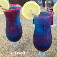 Blue Galaxy Cocktail - For more delicious recipes and drinks, visit us here: www.tipsybartender.com