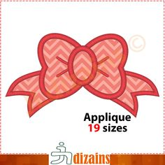 Girl bow applique design. Machine embroidery design -INSTANT DOWNLOAD- 19 sizes. Girl bow embroidery. Bow applique design. by JLdizains on Etsy