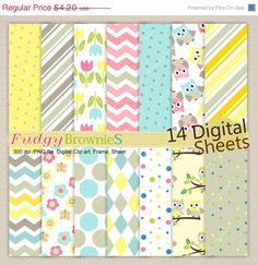 ON SALE,Baby Owls Digital Paper pack,baby shower,summer owl,invite,cute hoot ,invites,chevron,digital scrapbooking,No.217/2,Instant dow