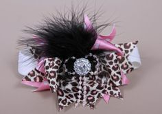 Big Bow Headband Pink Cheetah Bow Big Hair Bow por LilacandOlive