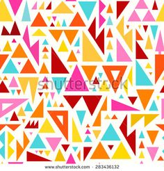 Seamless Triangles Pattern for Textile Design. Modern Mix of Colorful Triangles on White