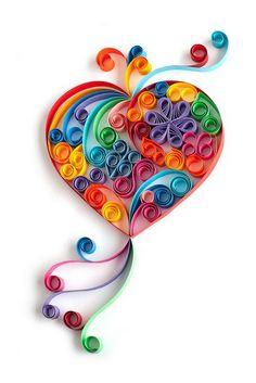 Rullatusta paperista sydän