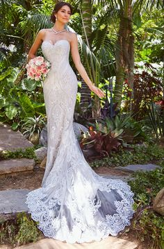 Embroidered Strapless Sweetheart Mermaid Wedding Dress / Bridal Gown with a Train by Kitty Chen Couture Celebrity Wedding Gowns, Celebrity Dresses, Wedding Gown Gallery, Bridal Dresses, Bridesmaid Dresses, Outdoor Wedding Dress, Amazing Wedding Dress, Mermaid Wedding, Bridal Style