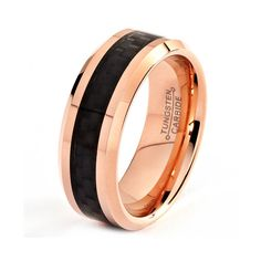 This 18 karat rose gold tungsten wedding band is made with a black carbon fiber inlay that goes through center of the rose gold ring. This stylish tungsten rose gold wedding ring has been finished wit Wedding Rings Rose Gold, Wedding Ring Bands, Cobalt Wedding, Tungsten Carbide Wedding Bands, Tungsten Rings, Wedding Men, Wedding Groom, Bride Groom, Wedding Dress